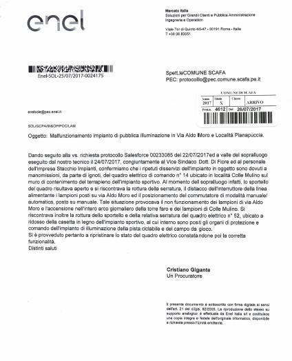 Malfunzionamento impianto di pubblica illuminazione in via Aldo Moro e località Pianapuccia