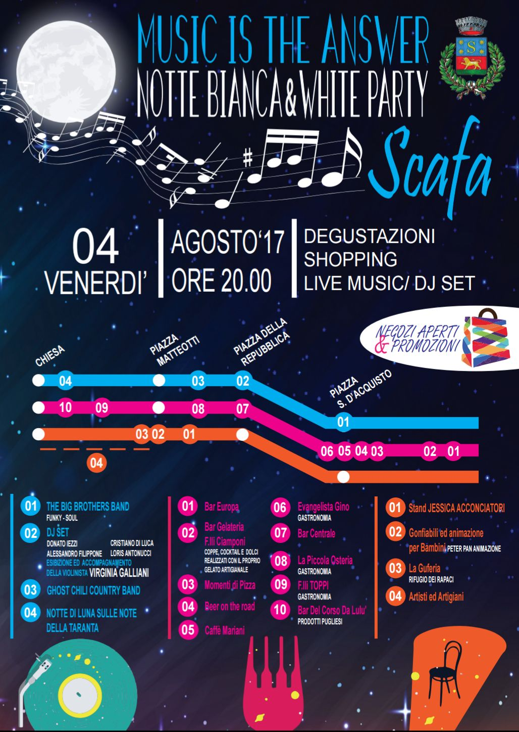 Music is the answer - notte bianca e White party a Scafa