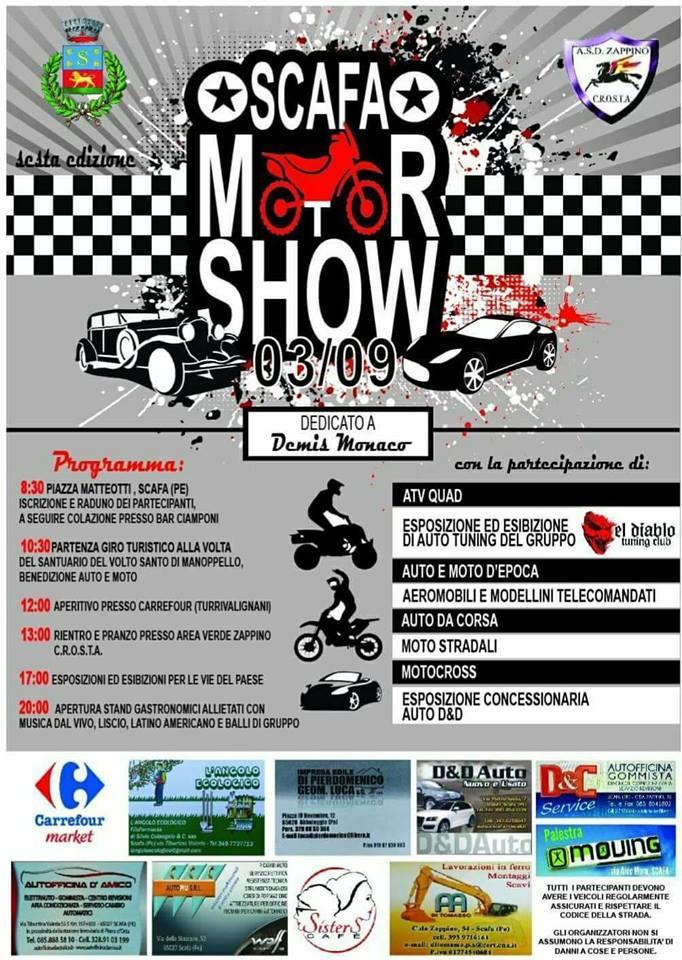 Domenica 3 Settembre torna il grande Motor Show di Scafa!