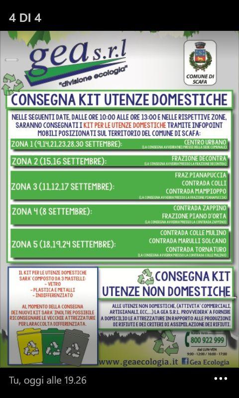 Orari per la consegna KIT utenze domestiche