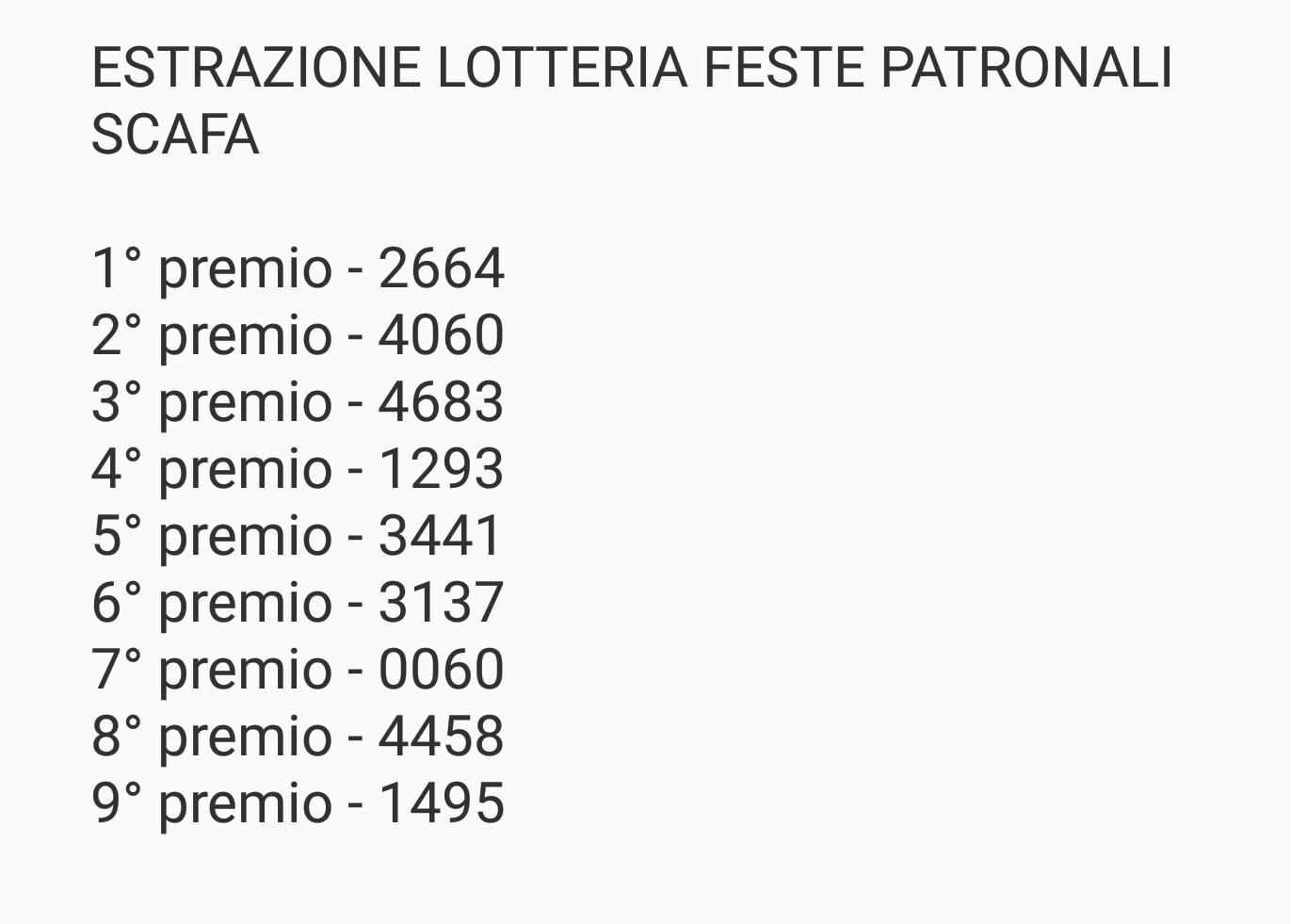 Estrazione lotteria feste patronali Scafa anno 2017