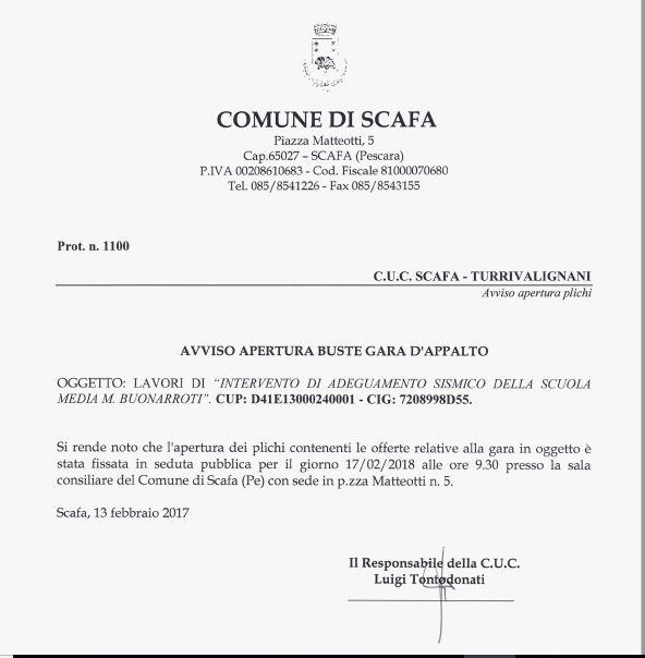 Lavori di �Intervento di adeguamento sismico della scuola media M. Buonarroti�.