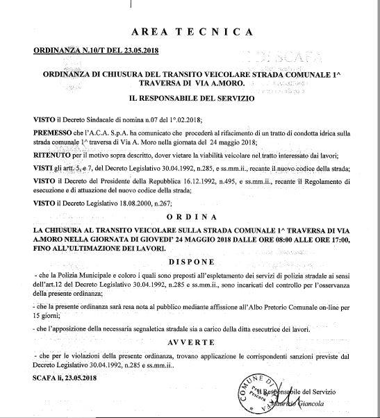 ORDINANZA DI CHIUSURA DEL TRANSITO VEICOLARE STRADA COMUNALE 1^ TRAVERSA DI  VIA A. MORO