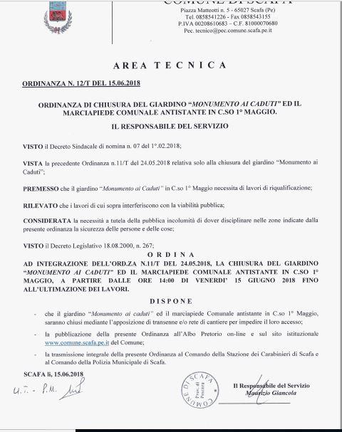ORDINANZA DI CHIUSURA DEL GIARDINO �MONUMENTO AI CADUTI� ED IL MARCIAPIEDE COMUNALE ANTISTANTE IN C.SO 1� MAGGIO.