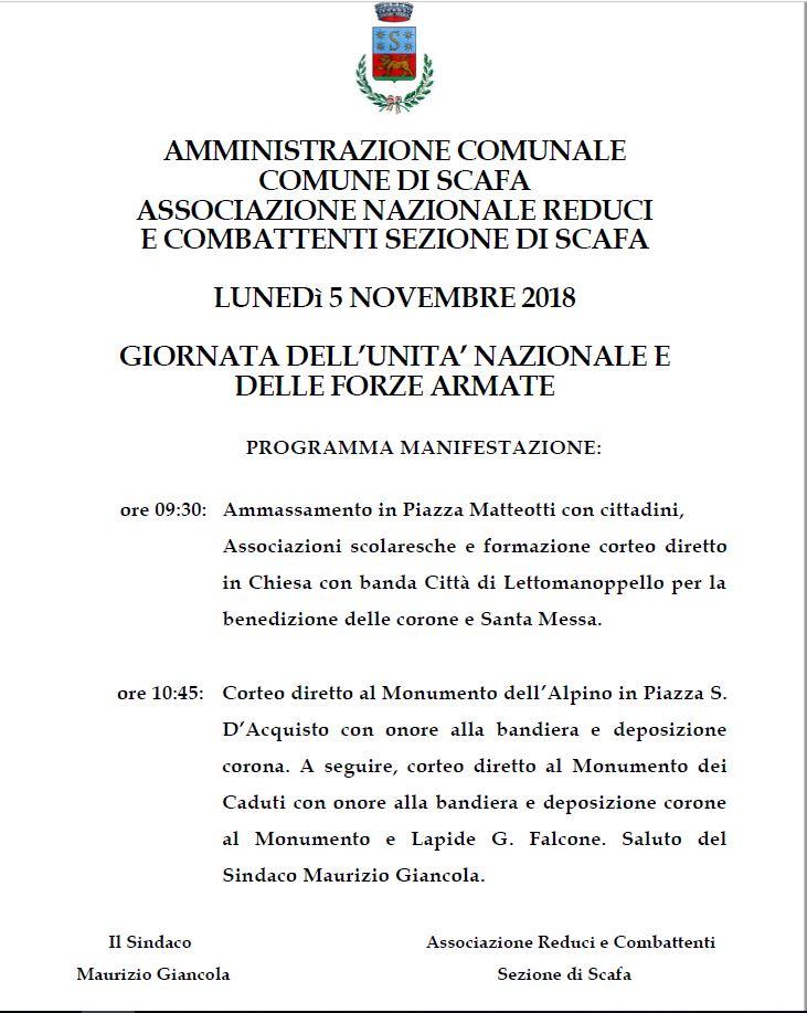 LUNED� 5 NOVEMBRE 2018  GIORNATA DELL�UNITA� NAZIONALE E DELLE FORZE ARMATE