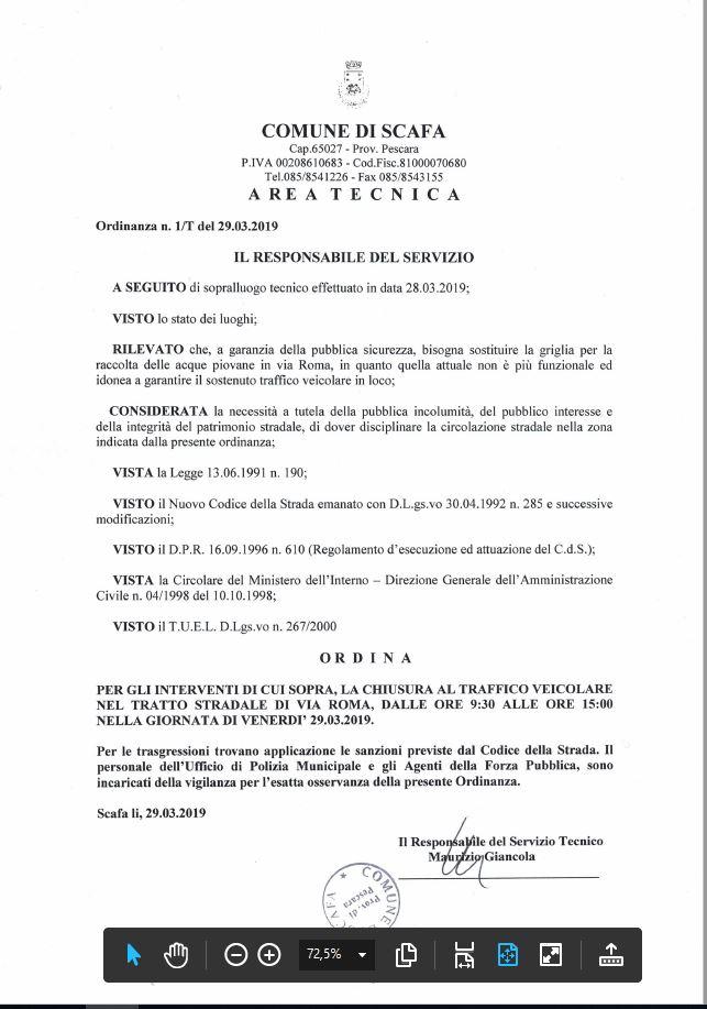 Ordinanza area tecnica n. 1-2019