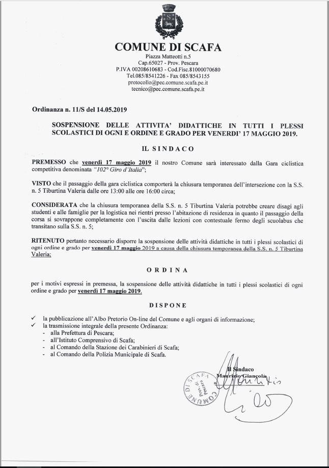 Ordinanza sindacale di sospensione delle attività didattiche in tutti i plessi scolastici di ogni ordine e grado per venerdì 17 maggio 2019.
