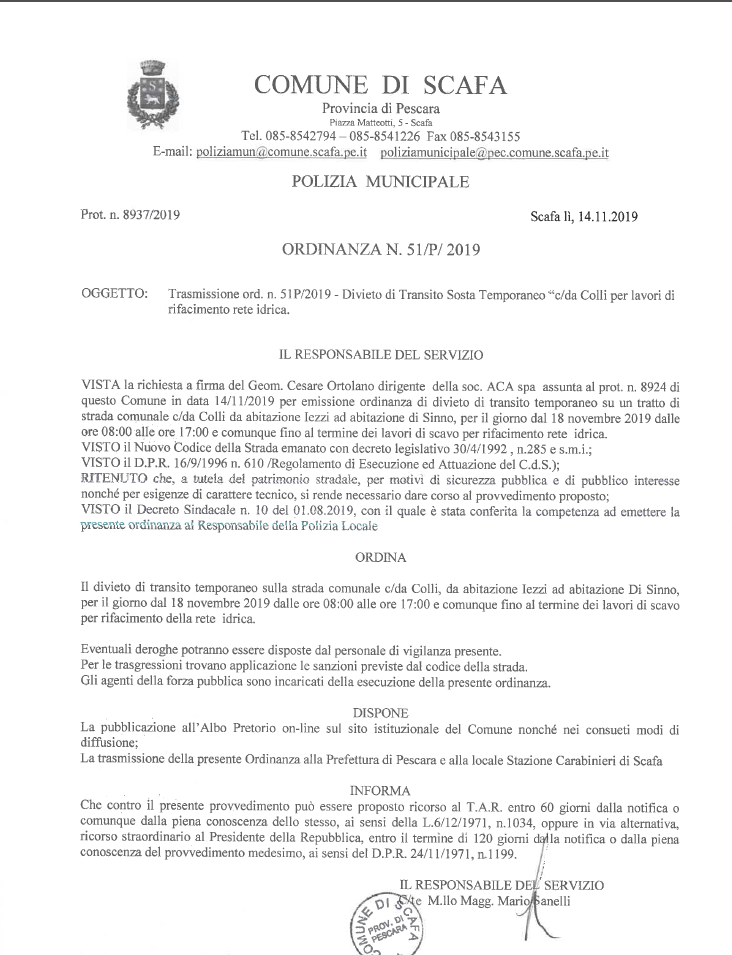 ORDINANZA N. 51/P DEL 14.11.2019