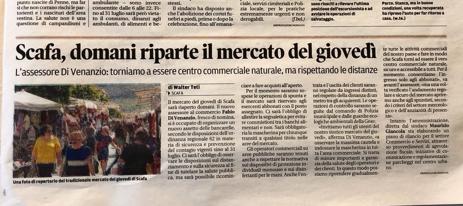 28 MAGGIO RIAPERTURA DEL MERCATO DEL GIOVEDI' CON TUTTE LE MISURE DI SICUREZZA.