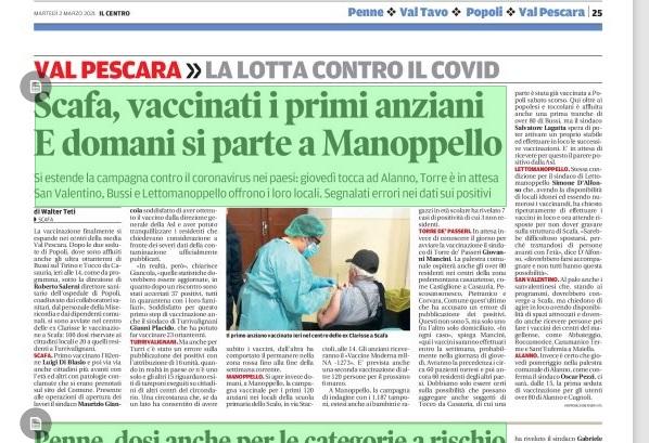 Ottimo avvio campagna vaccinazione COVID