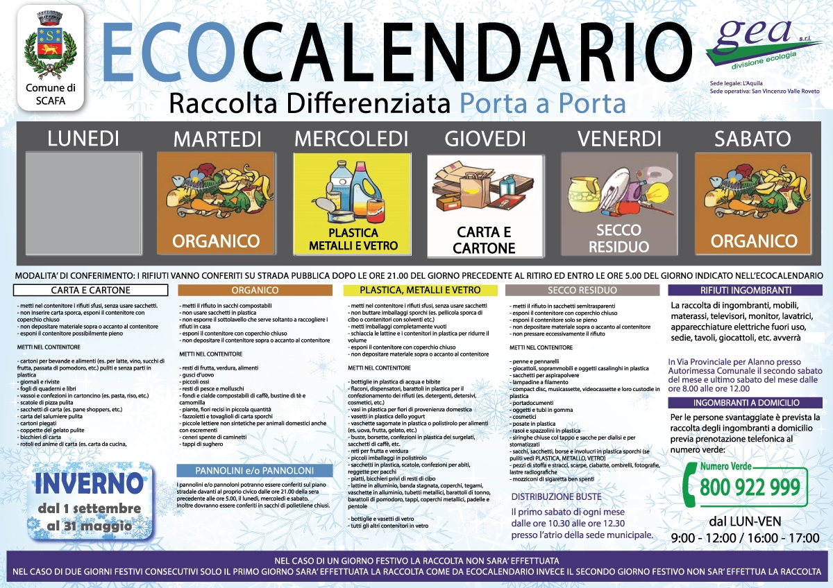 Ecocalendario Raccolta Differenziata 2015