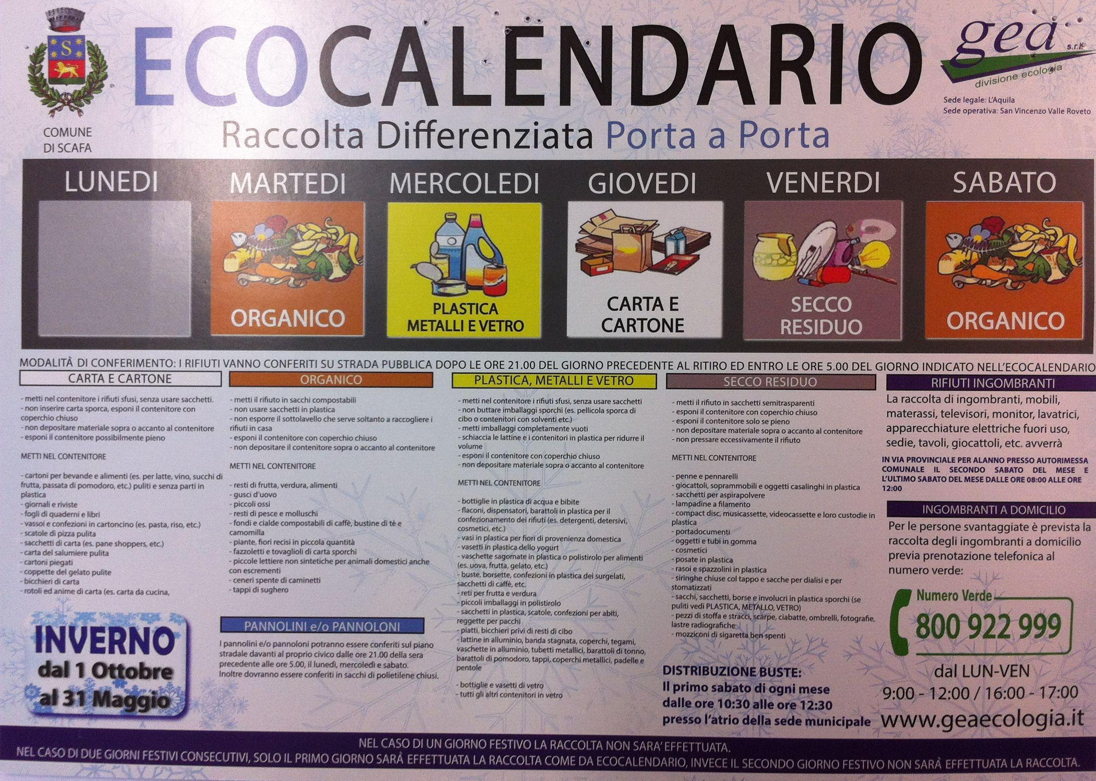 Ecocalendario Raccolta Differenziata dal 01/10/2016 al 31/05/2017